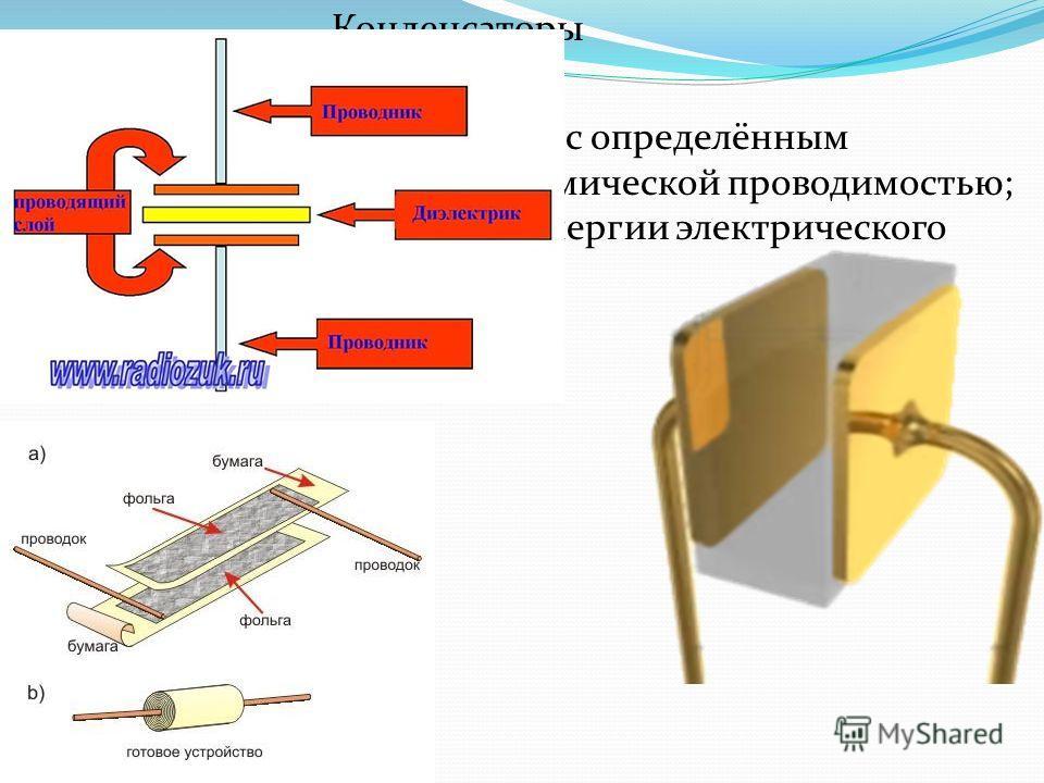 Конденсаторы Конденсатор двухполюсник с определённым значением ёмкости и малой омической проводимостью; устройство для накопления энергии электрического поля.