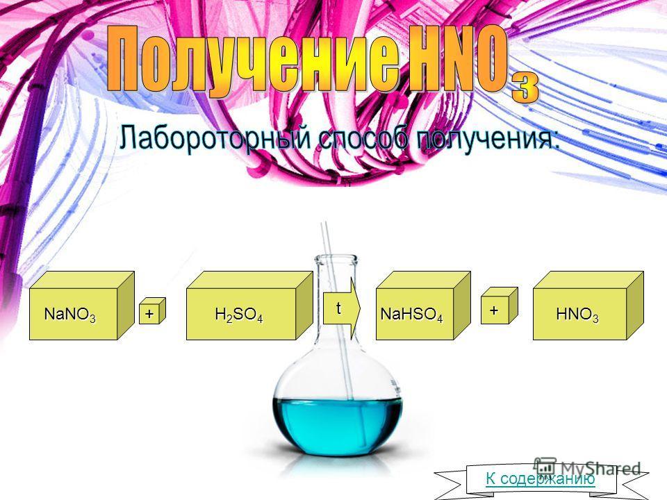 NaNO 3 + H 2 SO 4 t NaHSO 4 + HNO 3 К содержанию