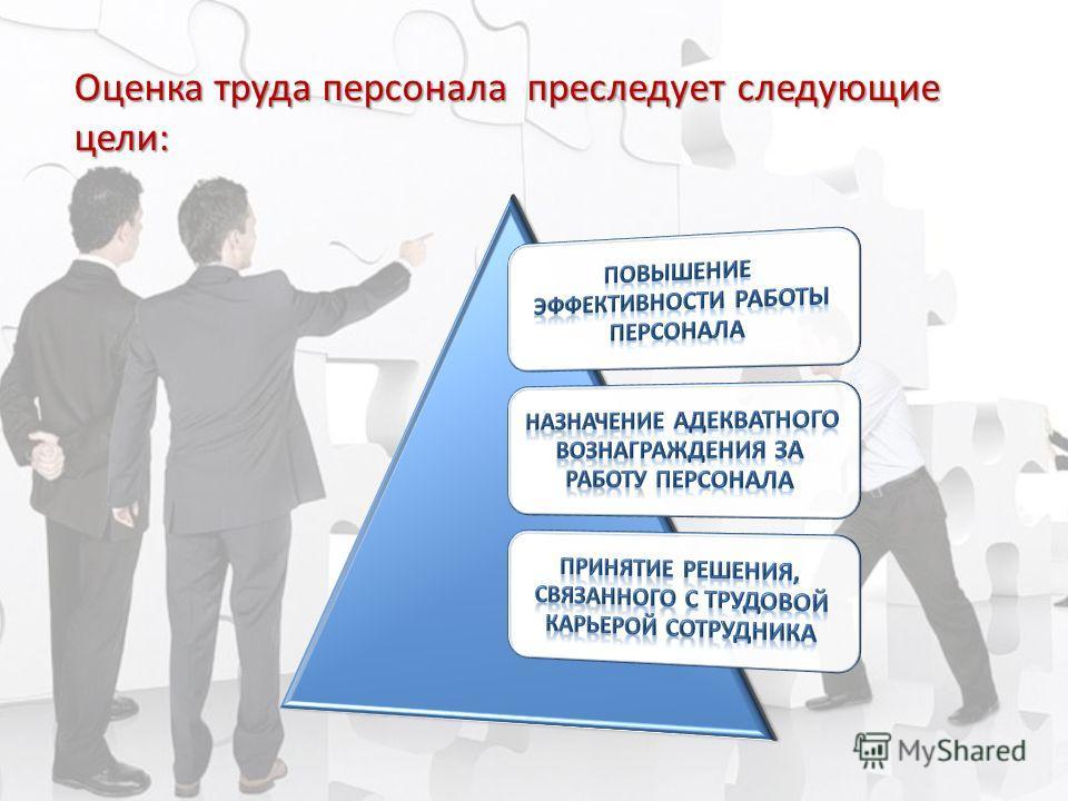 Оценка труда персонала преследует следующие цели: