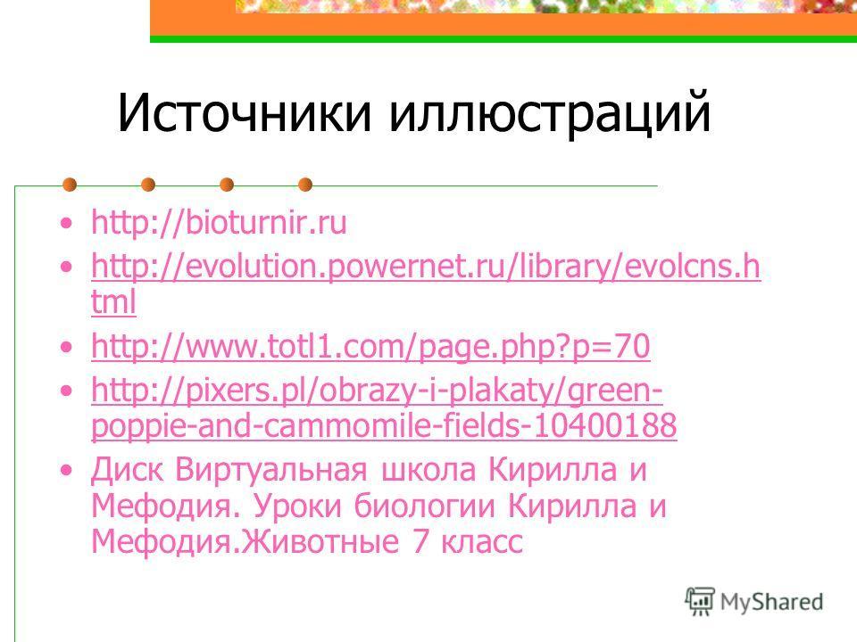Источники иллюстраций http://bioturnir.ru http://evolution.powernet.ru/library/evolcns.h tmlhttp://evolution.powernet.ru/library/evolcns.h tml http://www.totl1.com/page.php?p=70 http://pixers.pl/obrazy-i-plakaty/green- poppie-and-cammomile-fields-104