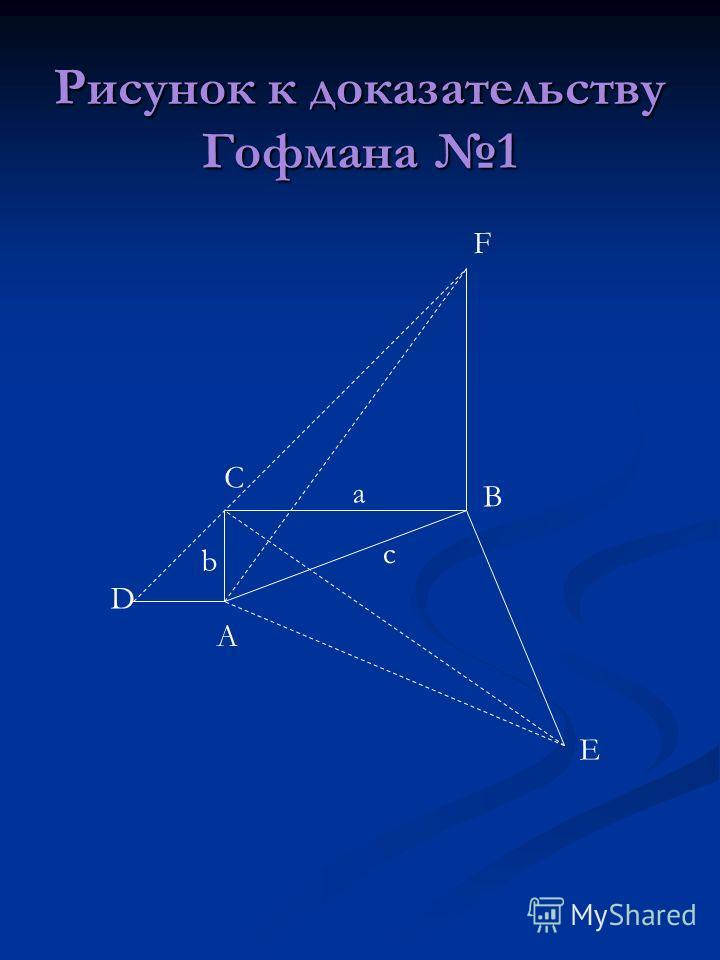 Рисунок к доказательству Гофмана 1 А С В D E F a b c