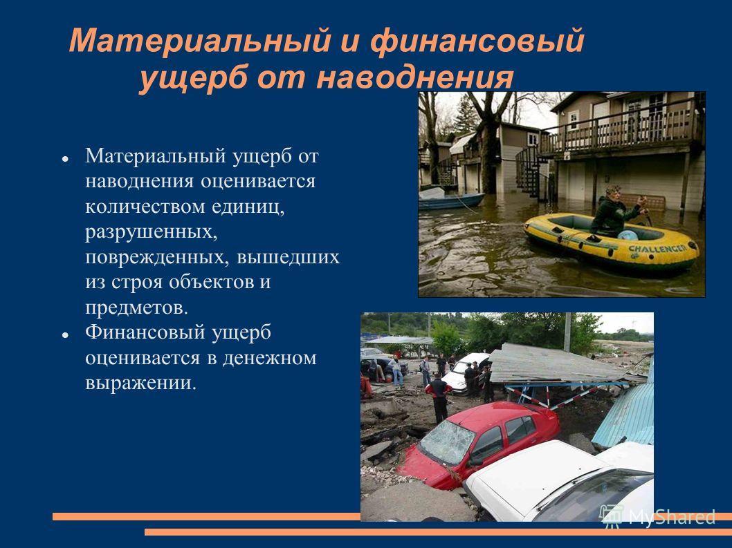 Материальный и финансовый ущерб от наводнения Материальный ущерб от наводнения оценивается количеством единиц, разрушенных, поврежденных, вышедших из строя объектов и предметов. Финансовый ущерб оценивается в денежном выражении.