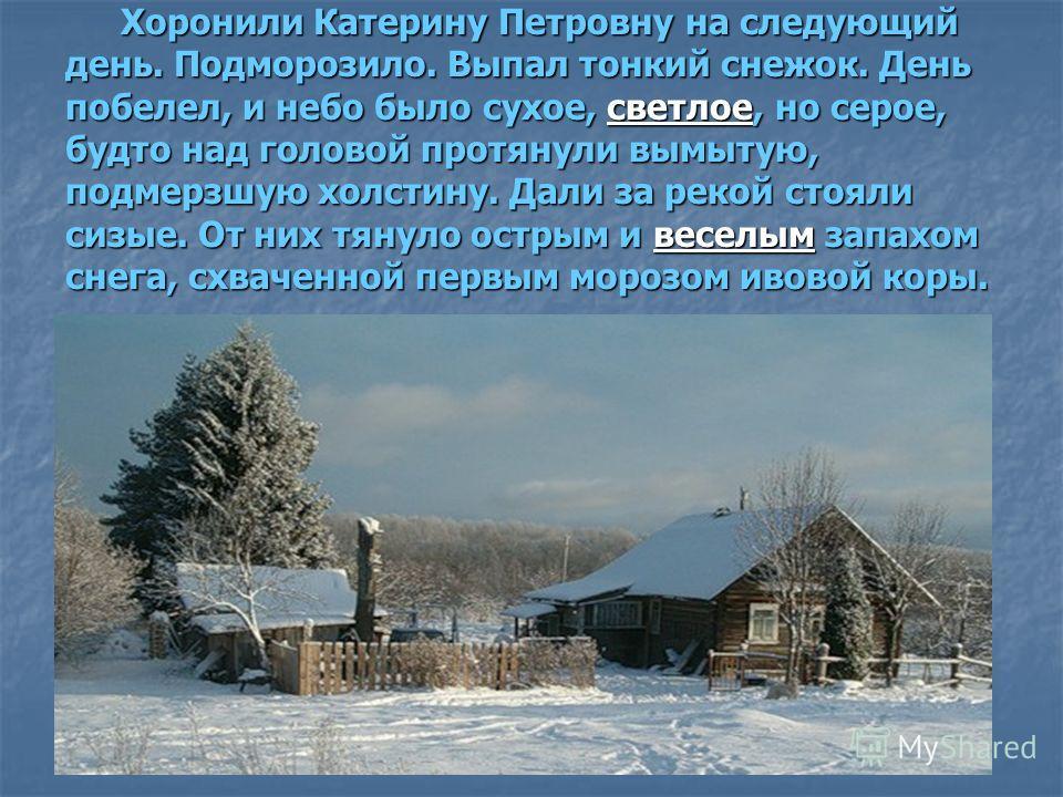 Хоронили Катерину Петровну на следующий день. Подморозило. Выпал тонкий снежок. День побелел, и небо было сухое, светлое, но серое, будто над головой протянули вымытую, подмерзшую холстину. Дали за рекой стояли сизые. От них тянуло острым и веселым з
