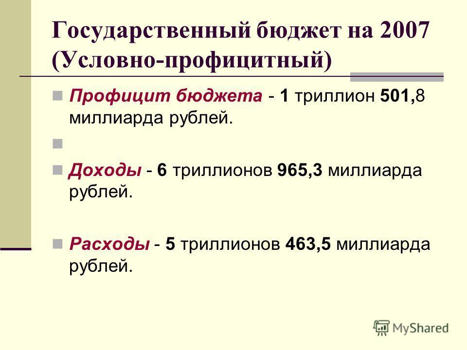 Государственный бюджет на 2007 (Условно-профицитный) Профицит бюджета - 1 триллион 501,8 миллиарда рублей. Доходы - 6 триллионов 965,3 миллиарда рублей. Расходы - 5 триллионов 463,5 миллиарда рублей.