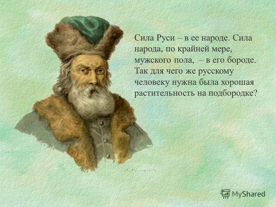 Сила Руси – в ее народе. Сила народа, по крайней мере, мужского пола, – в его бороде. Так для чего же русскому человеку нужна была хорошая растительность на подбородке?