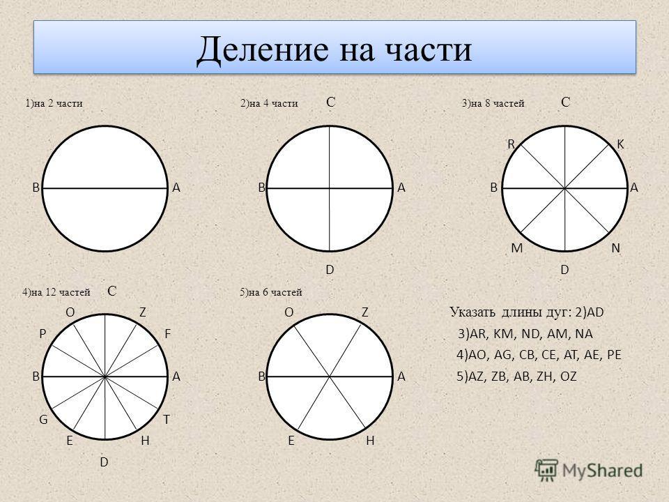 Деление на части 1)на 2 части 2)на 4 части С 3)на 8 частей С R K В А В А В A AА M N D D 4)на 12 частей С 5)на 6 частей O Z O Z Указать длины дуг : 2)AD P F 3)AR, KM, ND, AM, NA 4)AO, AG, CB, CE, AT, AE, PE B A B A 5)AZ, ZB, AB, ZH, OZ G T E H E H D