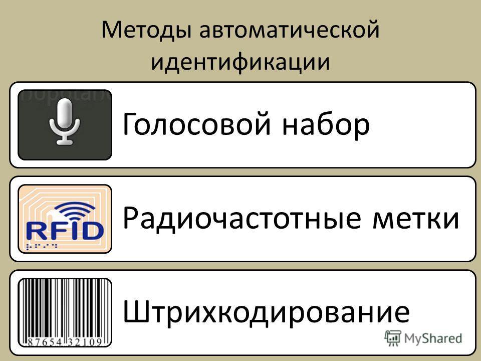 Методы автоматической идентификации 22 Голосовой набор Радиочастотные метки Штрихкодирование