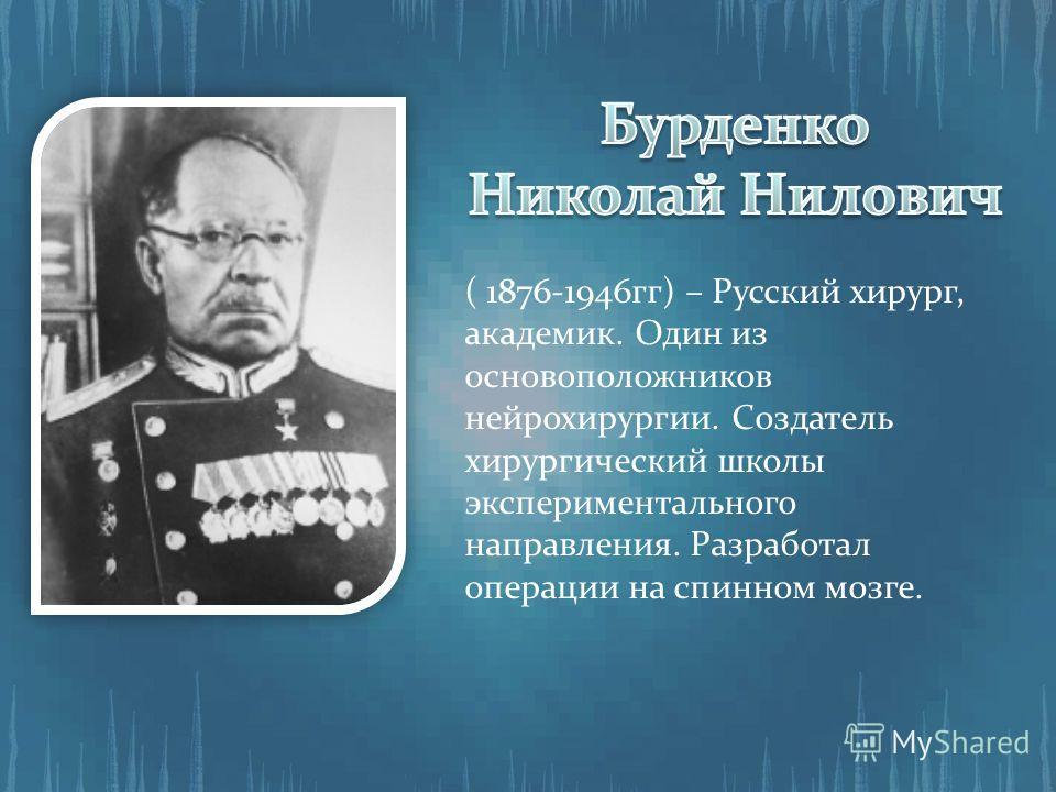 ( 1876-1946гг) – Русский хирург, академик. Один из основоположников нейрохирургии. Создатель хирургический школы экспериментального направления. Разработал операции на спинном мозге.