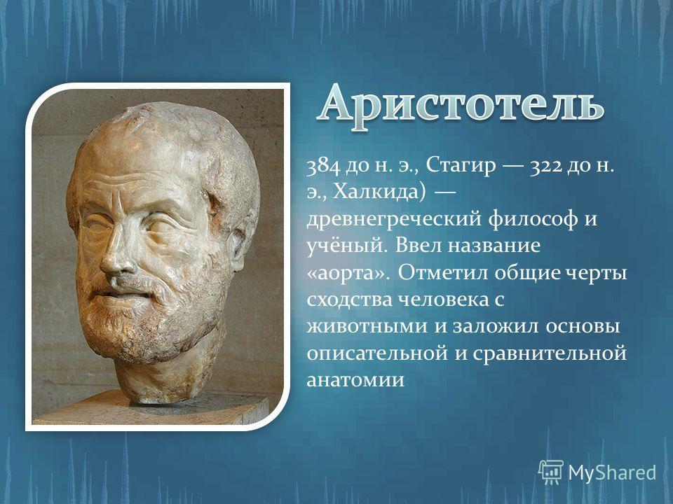 384 до н. э., Стагир 322 до н. э., Халкида) древнегреческий философ и учёный. Ввел название «аорта». Отметил общие черты сходства человека с животными и заложил основы описательной и сравнительной анатомии