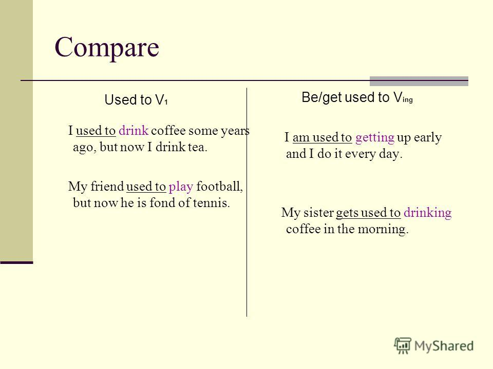 Compare Used to V 1 I used to drink coffee some years ago, but now I drink tea. My friend used to play football, but now he is fond of tennis. Be/get used to V ing I am used to getting up early and I do it every day. My sister gets used to drinking c