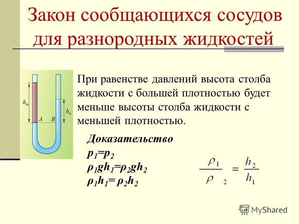 Закон сообщающихся сосудов для разнородных жидкостей При равенстве давлений высота столба жидкости с большей плотностью будет меньше высоты столба жидкости с меньшей плотностью. Доказательство р 1 =р 2 ρ 1 gh 1 =ρ 2 gh 2 ρ 1 h 1 = ρ 2 h 2