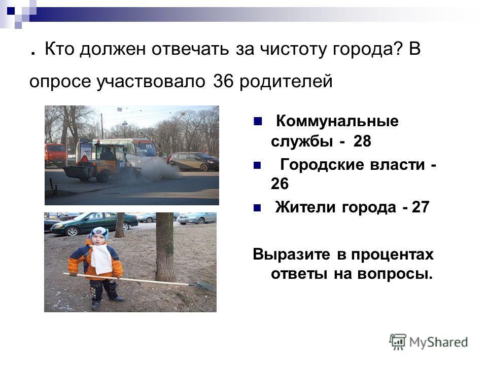 . Кто должен отвечать за чистоту города? В опросе участвовало 36 родителей Коммунальные службы - 28 Городские власти - 26 Жители города - 27 Выразите в процентах ответы на вопросы.