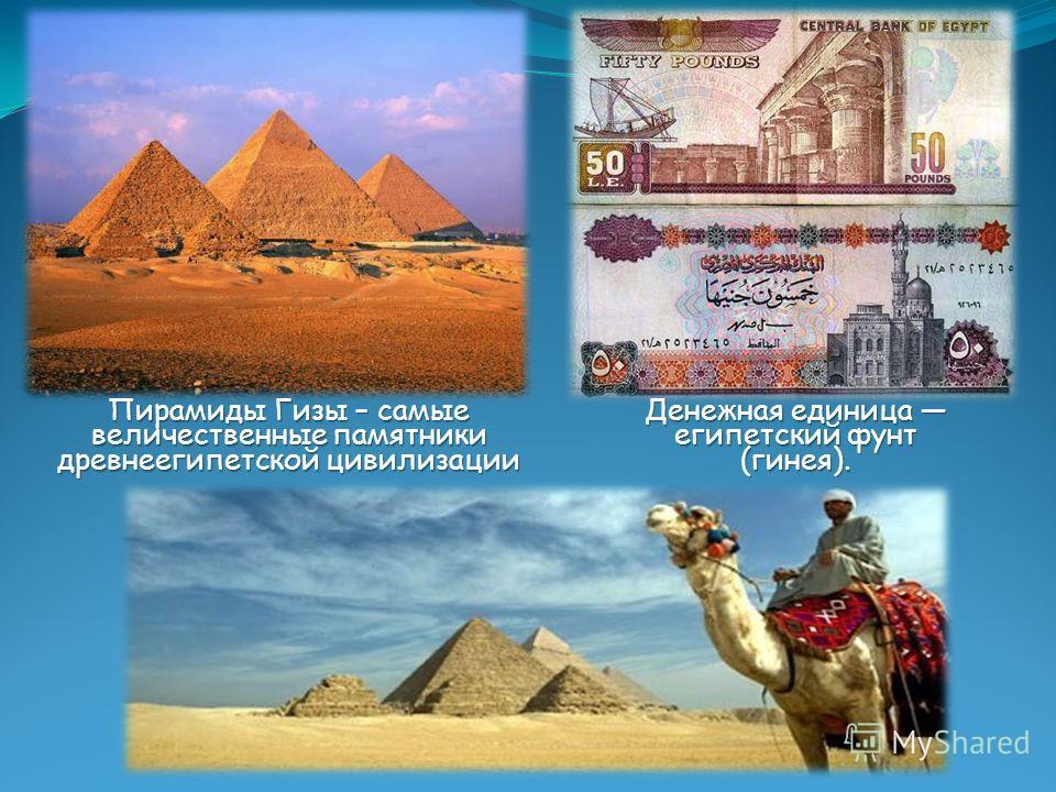 Денежная единица египетский фунт (гинея). Пирамиды Гизы – самые величественные памятники древнеегипетской цивилизации