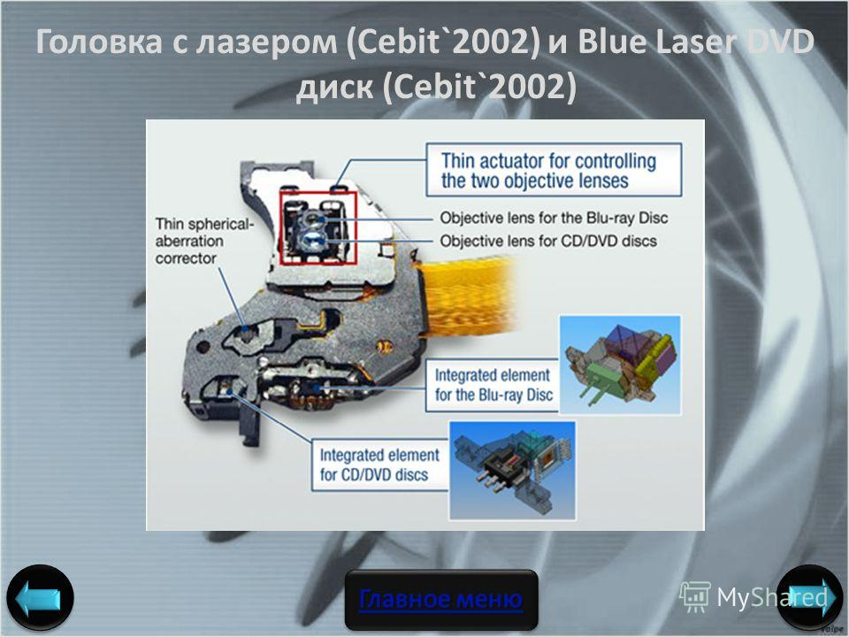 Головка с лазером (Cebit`2002) и Blue Laser DVD диск (Cebit`2002) Авторы: ст. гр. 106336 Погорелов А. С., Подорога А. М.,Федосов А. А