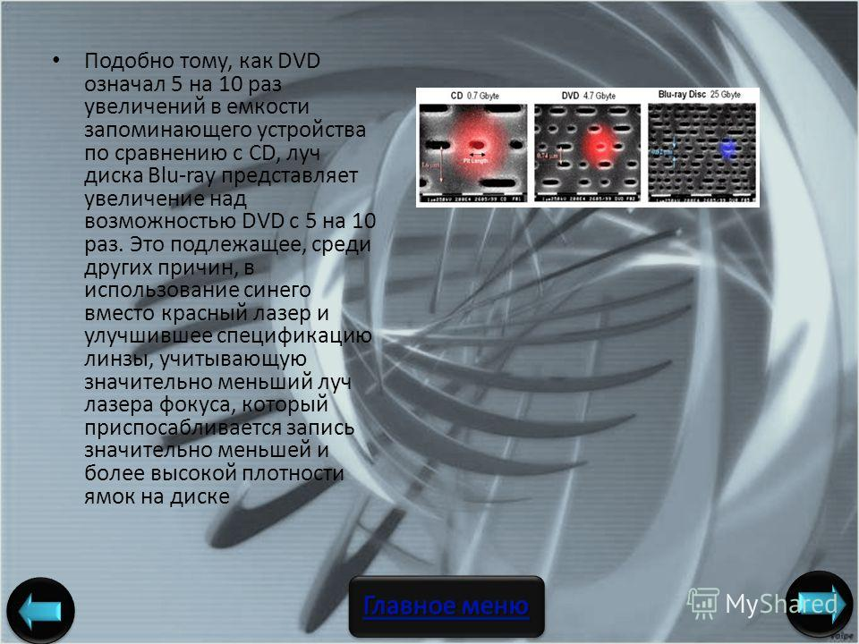Подобно тому, как DVD означал 5 на 10 раз увеличений в емкости запоминающего устройства по сравнению с CD, луч диска Blu-ray представляет увеличение над возможностью DVD с 5 на 10 раз. Это подлежащее, среди других причин, в использование синего вмест