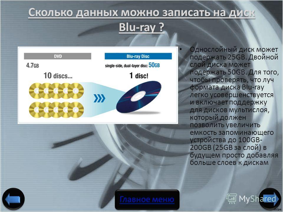 Сколько данных можно записать на диск Blu-ray ? Однослойный диск может подержать 25GB. Двойной слой диска может подержать 50GB. Для того, чтобы проверять, что луч формата диска Blu-ray легко усовершенствуется и включает поддержку для дисков мультисло