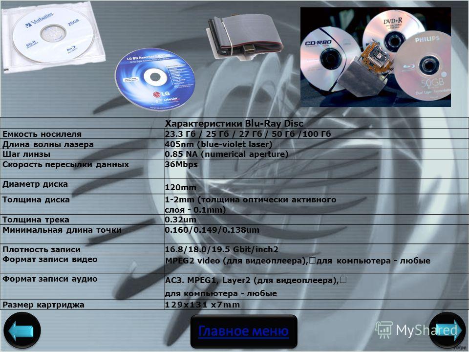 Характеристики Blu-Ray Disc Емкость носилеля23.3 Гб / 25 Гб / 27 Гб / 50 Гб /100 Гб Длина волны лазера405nm (blue-violet laser) Шar линзы0.85 NA (numerical aperture) Скорость пересылки данных36Mbps Диаметр диска 120mm Толщина диска1-2mm (толщина опти