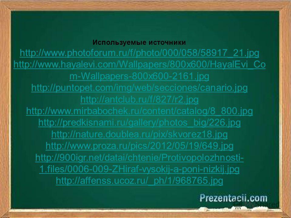 Используемые источники http://www.photoforum.ru/f/photo/000/058/58917_21.jpg http://www.hayalevi.com/Wallpapers/800x600/HayalEvi_Co m-Wallpapers-800x600-2161.jpg http://puntopet.com/img/web/secciones/canario.jpg http://antclub.ru/f/827/r2.jpg http://