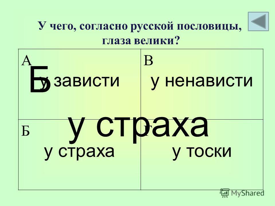 А у зависти В у ненависти Б у страха Г у тоски Б у страха У чего, согласно русской пословицы, глаза велики?