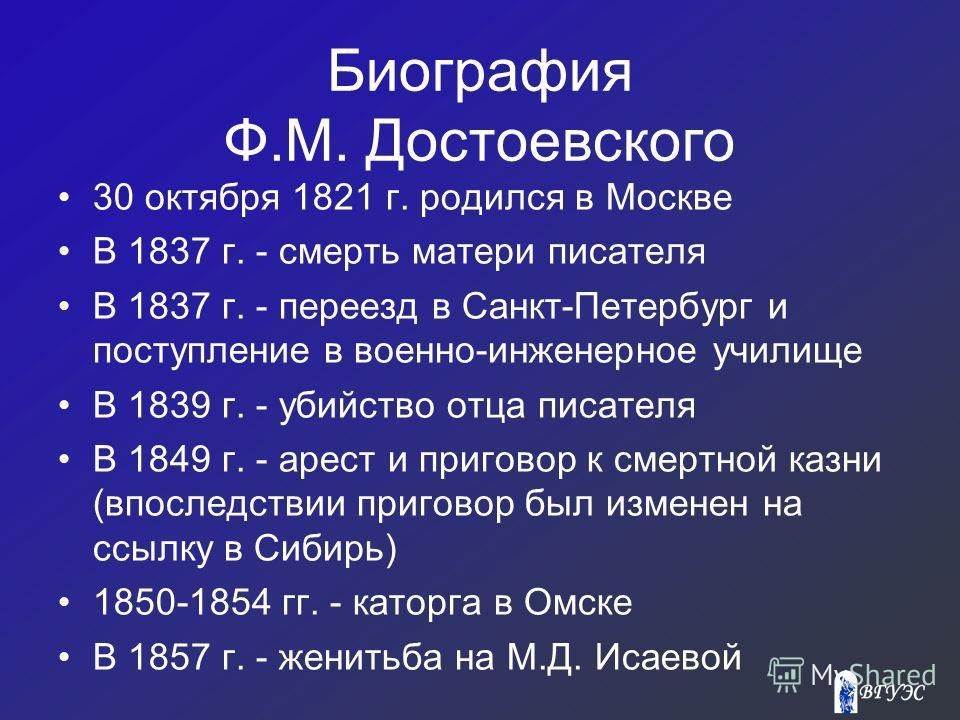 Биография Ф.М. Достоевского 30 октября 1821 г. родился в Москве В 1837 г. - cмерть матери писателя В 1837 г. - переезд в Санкт-Петербург и поступление в военно-инженерное училище В 1839 г. - убийство отца писателя В 1849 г. - арест и приговор к смерт