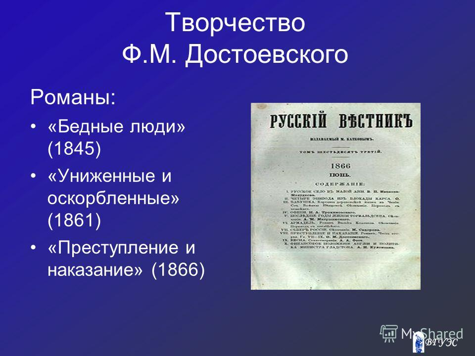 Творчество Ф.М. Достоевского Романы: «Бедные люди» (1845) «Униженные и оскорбленные» (1861) «Преступление и наказание» (1866)