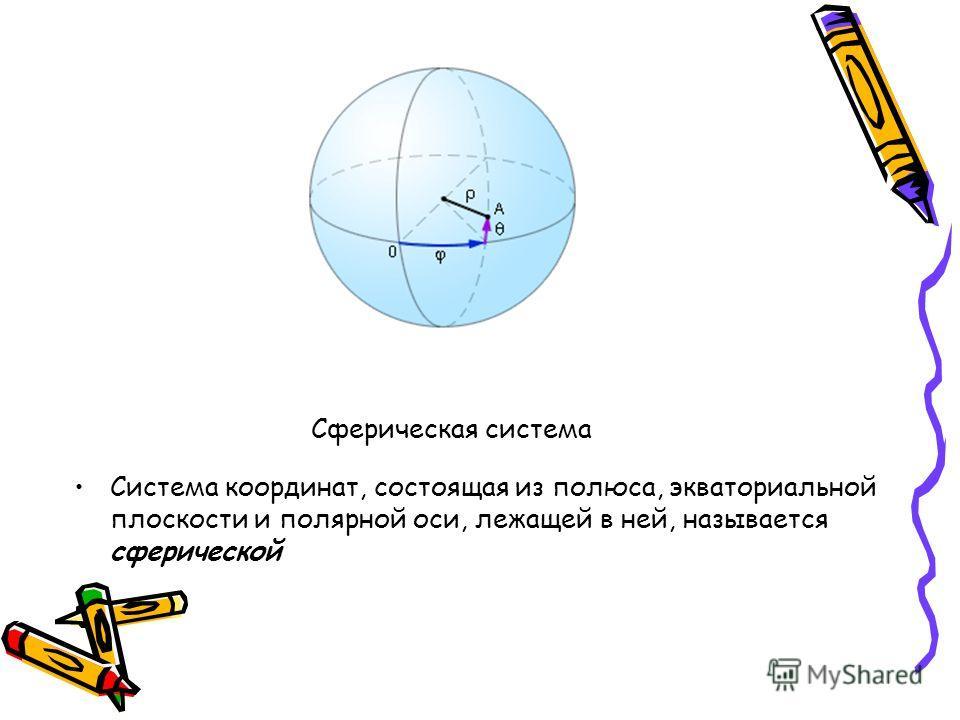 Сферическая система Система координат, состоящая из полюса, экваториальной плоскости и полярной оси, лежащей в ней, называется сферической
