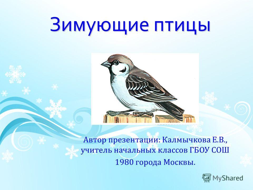 Зимующие птицы Автор презентации: Калмычкова Е.В., учитель начальных классов ГБОУ СОШ 1980 города Москвы.