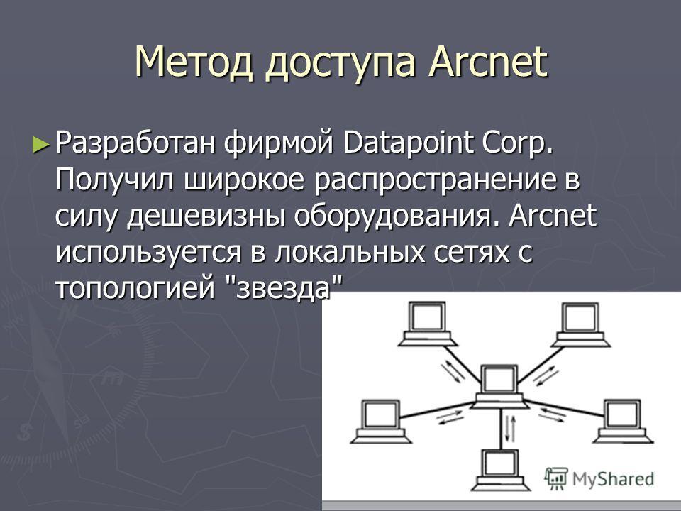 Метод доступа Arcnet Разработан фирмой Datapoint Corp. Получил широкое распространение в силу дешевизны оборудования. Arcnet используется в локальных сетях с топологией
