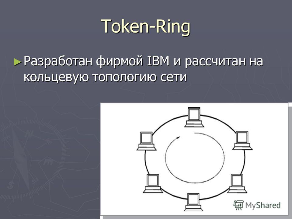Token-Ring Разработан фирмой IBM и рассчитан на кольцевую топологию сети Разработан фирмой IBM и рассчитан на кольцевую топологию сети