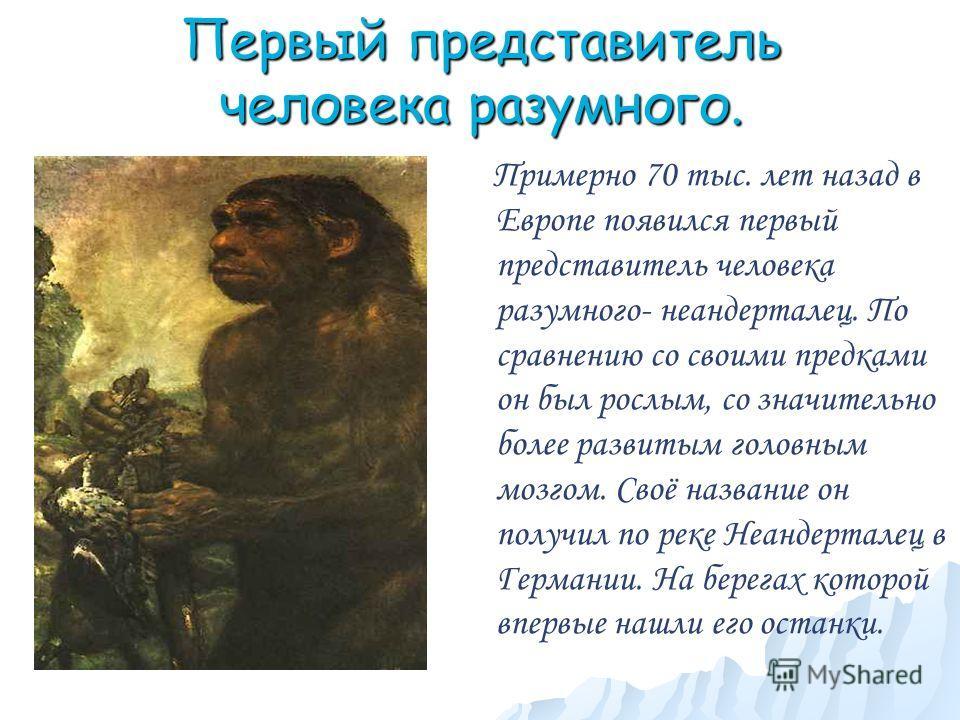Первый представитель человека разумного. Примерно 70 тыс. лет назад в Европе появился первый представитель человека разумного- неандерталец. По сравнению со своими предками он был рослым, со значительно более развитым головным мозгом. Своё название о
