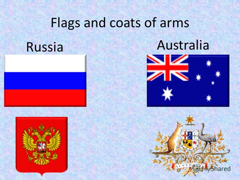 Flags and coats of arms Russia Australia