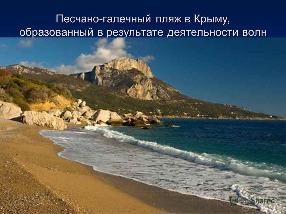Песчано-галечный пляж в Крыму, образованный в результате деятельности волн