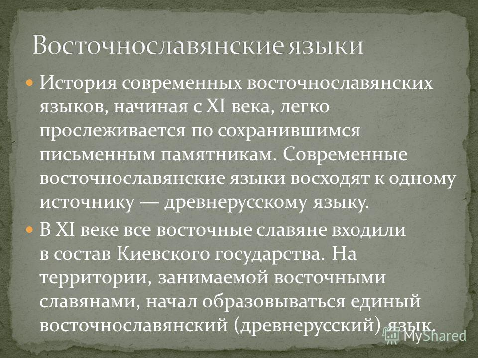 История современных восточнославянских языков, начиная с XI века, легко прослеживается по сохранившимся письменным памятникам. Современные восточнославянские языки восходят к одному источнику древнерусскому языку. В XI веке все восточные славяне вход