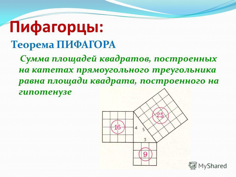 Пифагорцы: Теорема ПИФАГОРА Сумма площадей квадратов, построенных на катетах прямоугольного треугольника равна площади квадрата, построенного на гипотенузе