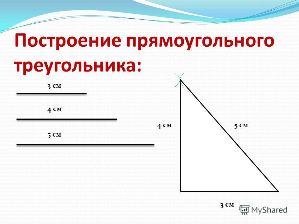 Построение прямоугольного треугольника: 4 см 3 см 5 см 4 см 3 см 5 см