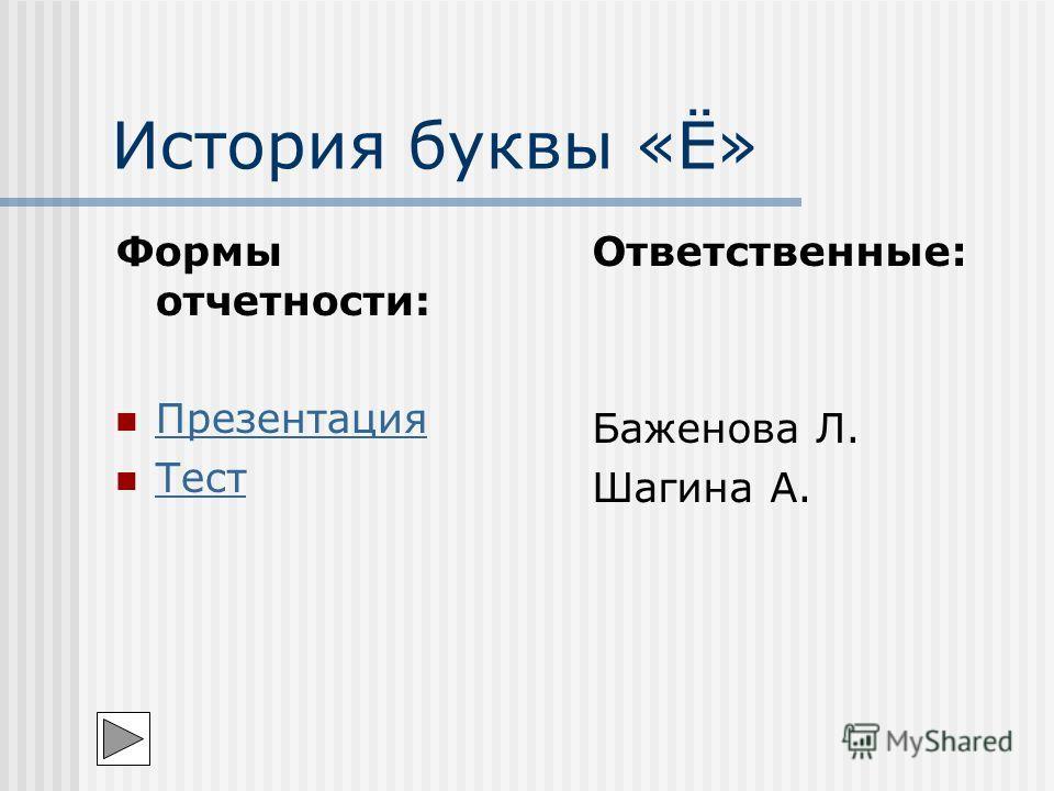 История буквы «Ё» Формы отчетности: Презентация Тест Ответственные: Баженова Л. Шагина А.