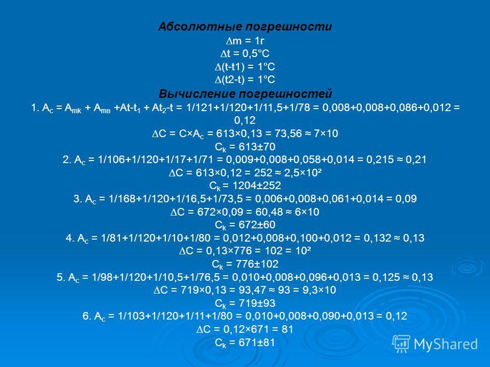 Абсолютные погрешности m = 1г t = 0,5°С (t-t1) = 1°С (t2-t) = 1°С Вычисление погрешностей 1. A c = A mk + A mв +At-t 1 + At 2 -t = 1/121+1/120+1/11,5+1/78 = 0,008+0,008+0,086+0,012 = 0,12 C = C×A c = 613×0,13 = 73,56 7×10 C k = 613±70 2. A c = 1/106+