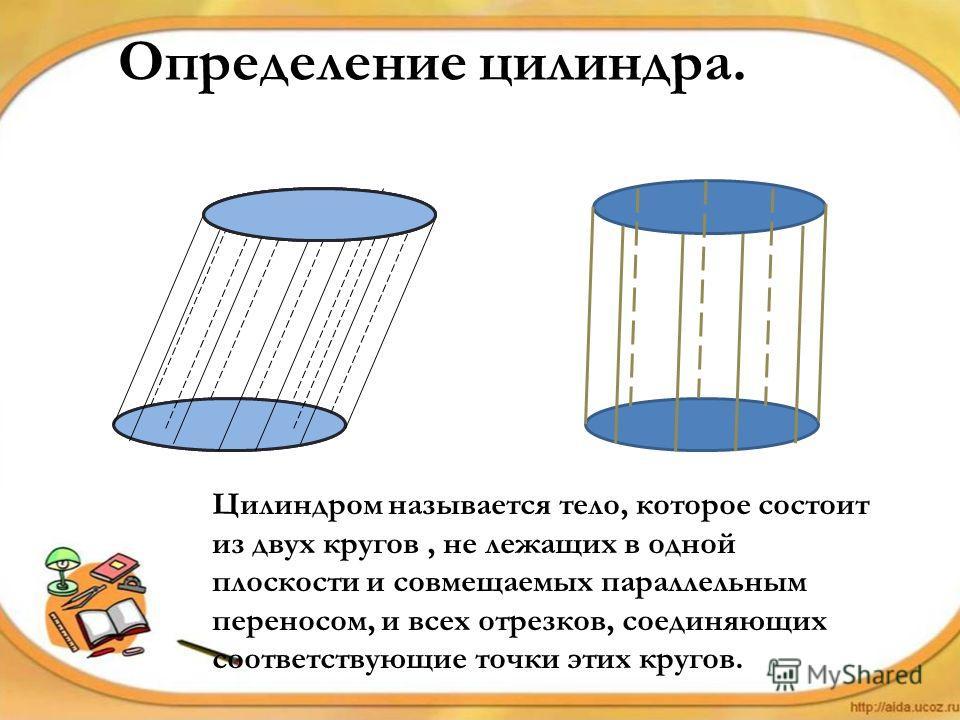 Определение цилиндра. Цилиндром называется тело, которое состоит из двух кругов, не лежащих в одной плоскости и совмещаемых параллельным переносом, и всех отрезков, соединяющих соответствующие точки этих кругов.