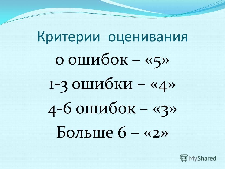 Критерии оценивания 0 ошибок – «5» 1-3 ошибки – «4» 4-6 ошибок – «3» Больше 6 – «2»