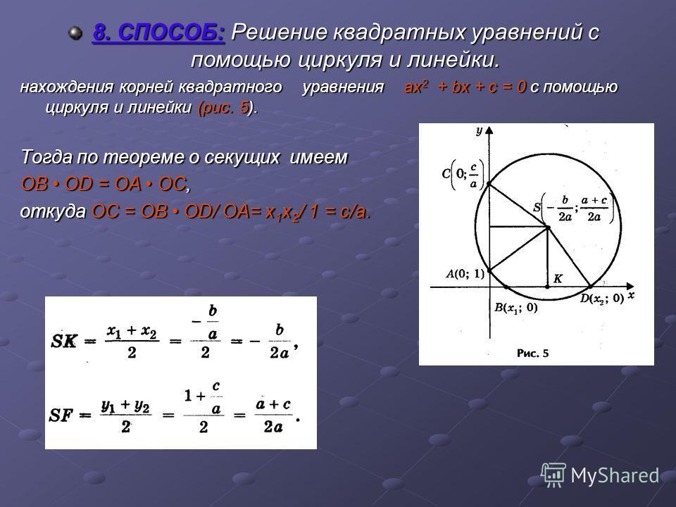 8. СПОСОБ: Решение квадратных уравнений с помощью циркуля и линейки. нахождения корней квадратного уравнения ах2 + bх + с = 0 с помощью циркуля и линейки (рис. 5). Тогда по теореме о секущих имеем OB OD = OA OC, откуда OC = OB OD/ OA= х1х2/ 1 = c/a.