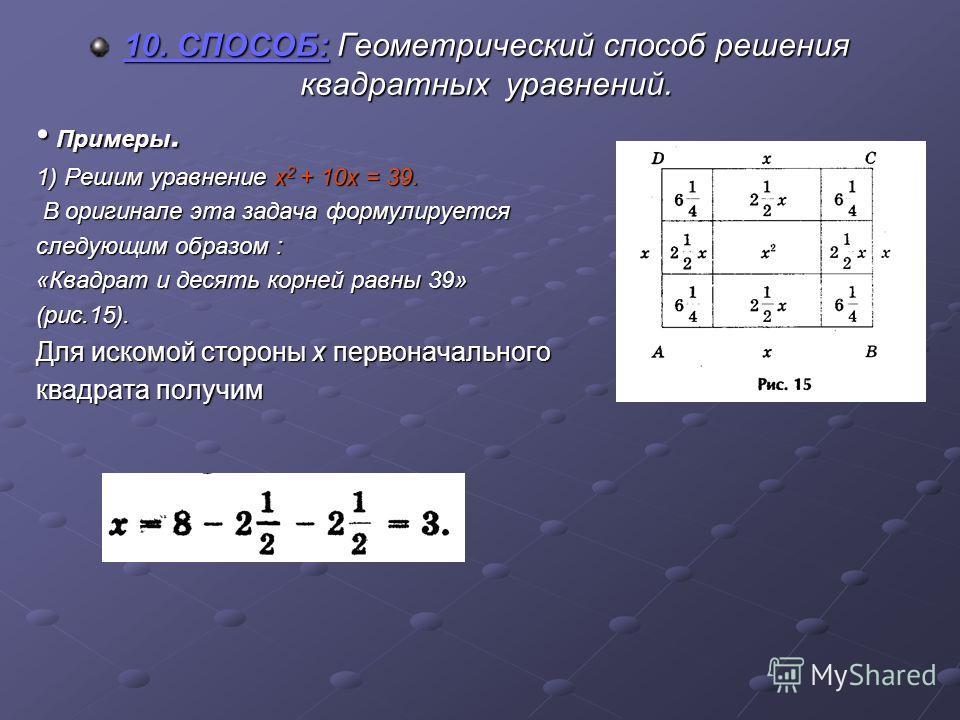 10. СПОСОБ: Геометрический способ решения квадратных уравнений. Примеры. 1) Решим уравнение х2 + 10х = 39. В оригинале эта задача формулируется следующим образом : «Квадрат и десять корней равны 39» (рис.15). Для искомой стороны х первоначального ква