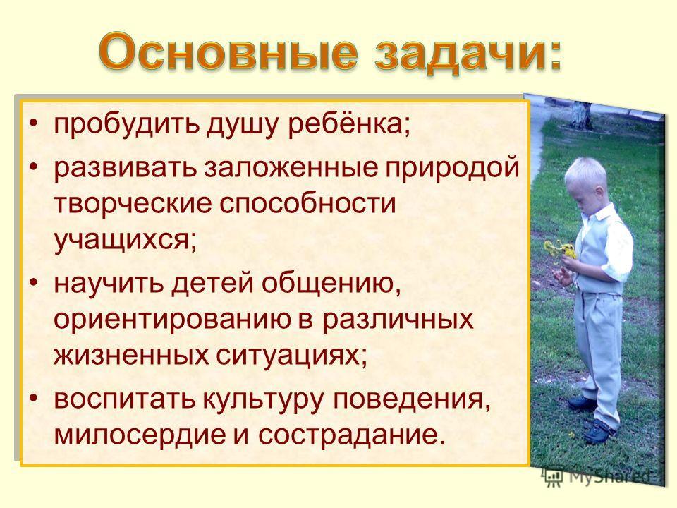 пробудить душу ребёнка; развивать заложенные природой творческие способности учащихся; научить детей общению, ориентированию в различных жизненных ситуациях; воспитать культуру поведения, милосердие и сострадание. пробудить душу ребёнка; развивать за