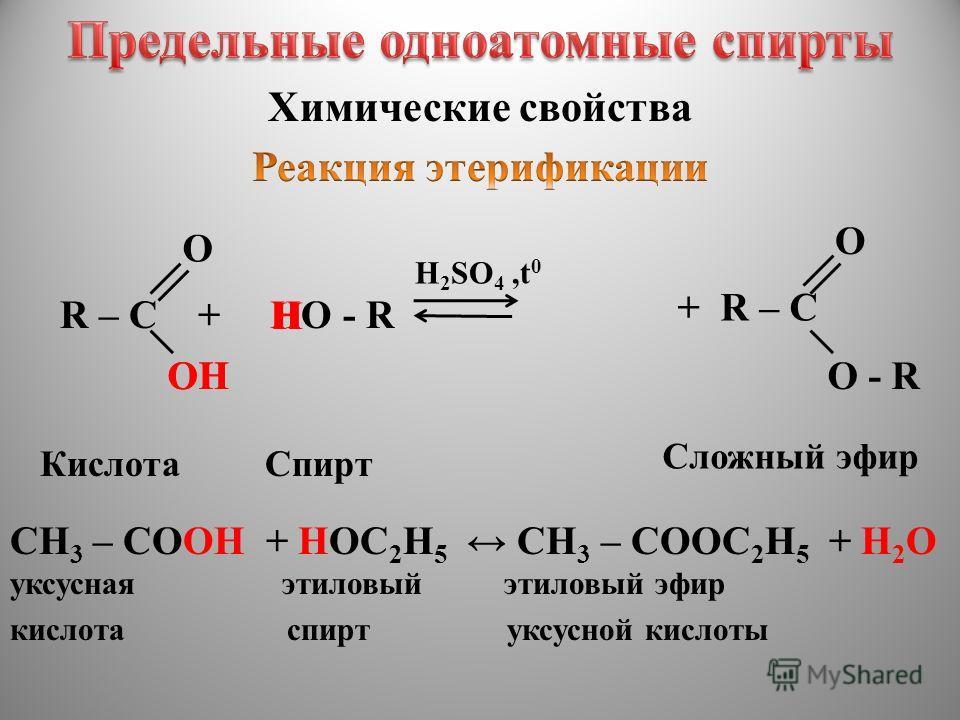 Химические свойства R – C + HO - R H 2 SO 4,t 0 O ОHОHOH H КислотаСпирт Сложный эфир CH 3 – CОOH + HОC 2 H 5 CH 3 – СООC 2 H 5 + H 2 О уксусная этиловый этиловый эфир кислота спирт уксусной кислоты + R – C О - R O