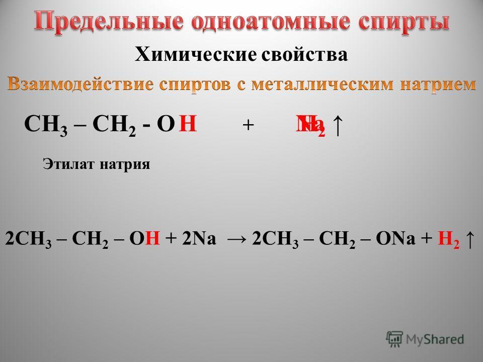CH 3 – CH 2 - OHNaH2 H2 Химические свойства Этилат натрия + 2CH 3 – CH 2 – OH + 2Na 2CH 3 – CH 2 – ONa + H 2
