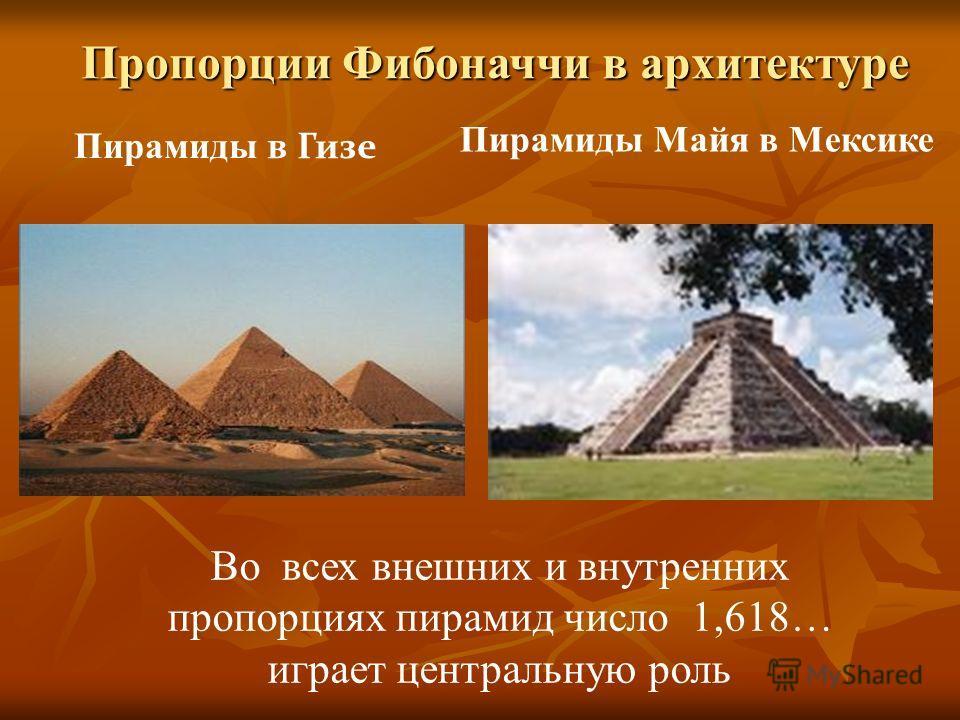 Пирамиды в Гизе Пирамиды Майя в Мексике Во всех внешних и внутренних пропорциях пирамид число 1,618… играет центральную роль Пропорции Фибоначчи в архитектуре
