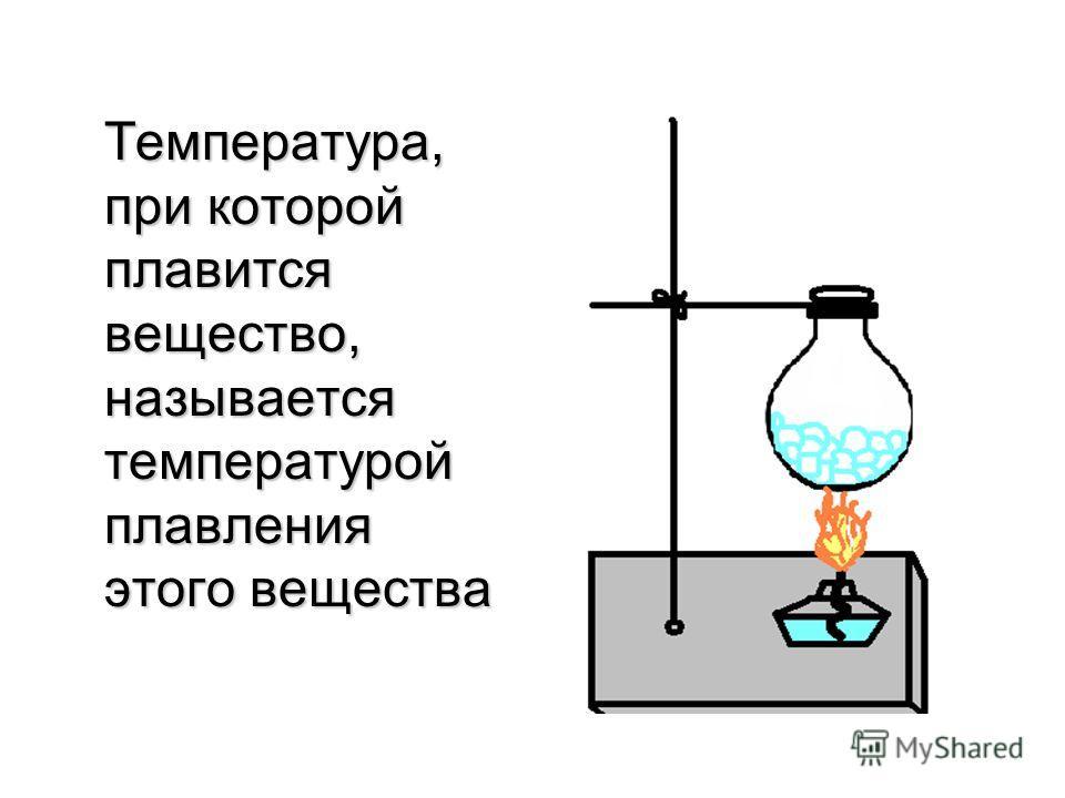 Температура, при которой плавится вещество, называется температурой плавления этого вещества