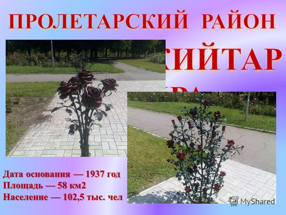 Дата основания 1937 год Площадь 58 км2 Население 102,5 тыс. чел