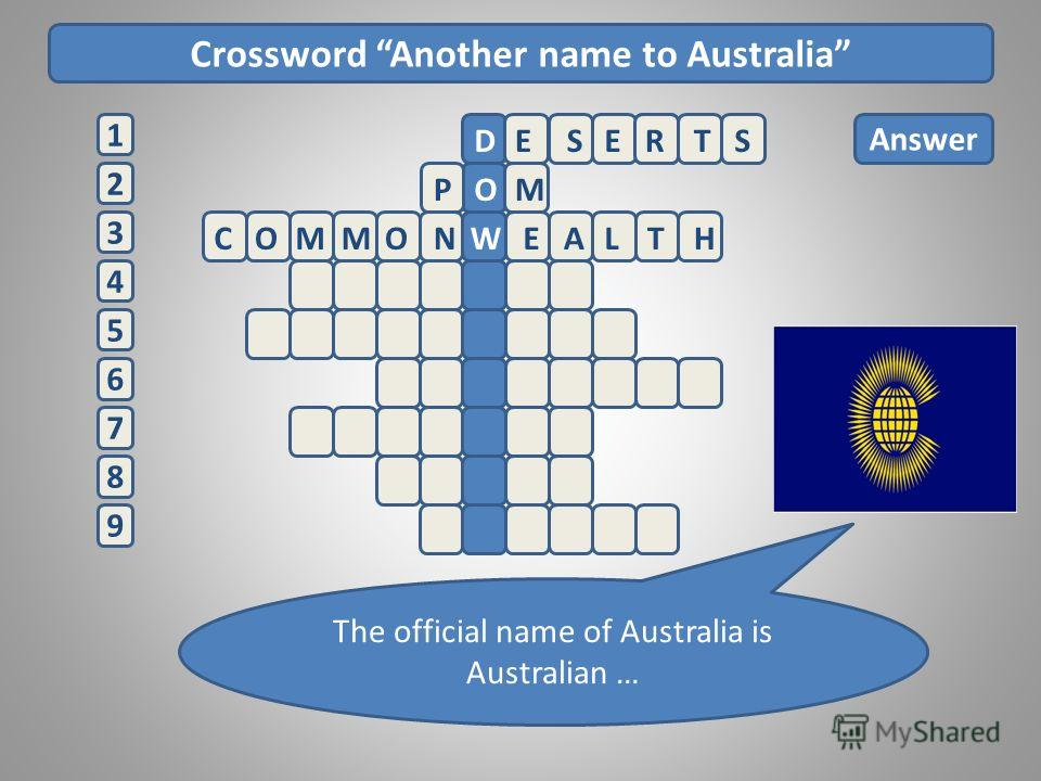 Crossword Another name to Australia 2 1 3 4 5 6 7 8 9 Answer ESERTSD POM The official name of Australia is Australian … COMMONWEALTH