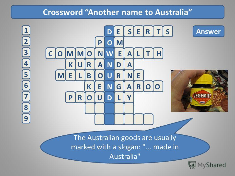 Crossword Another name to Australia 2 1 3 4 5 6 7 8 9 Answer ESERTSD POM The Australian goods are usually marked with a slogan: ... made in Australia COMMONWEALTH KURANDA MELBURNE O GKENAROO PROUDLY
