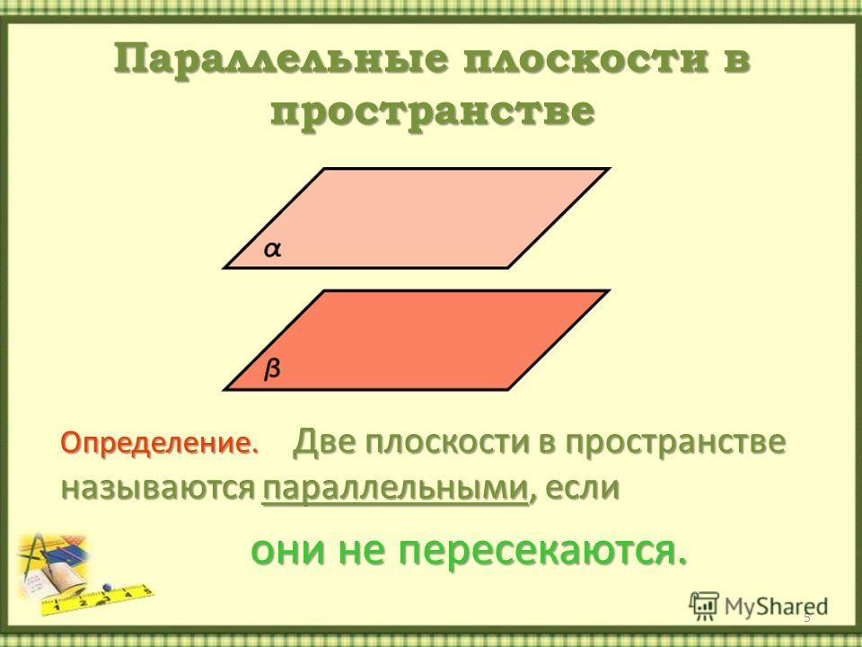 Параллельные плоскости в пространстве 5 Определение. Две плоскости в пространстве называются параллельными, если они не пересекаются.